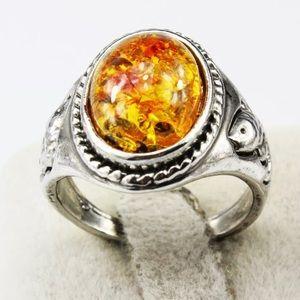 Silver Tone Multicolored Pieces Fish Ring